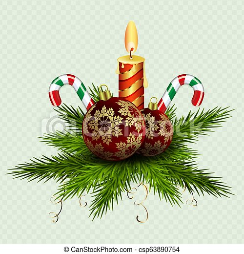 Christmas composition of spruce green twigs, burning candles, balls and two staffs. - csp63890754