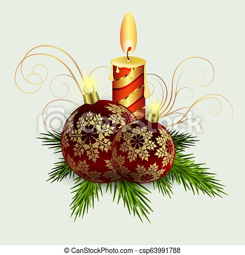 Christmas composition of spruce green branches, a burning candle, burgundy balls with snowflakes. - csp63991788