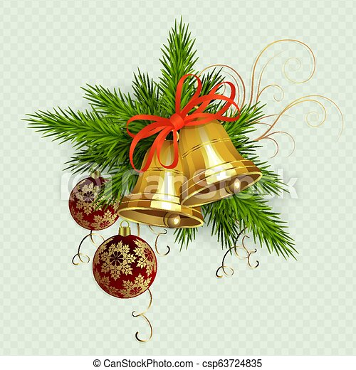 Christmas composition of spruce green twigs, golden bells with red ribbon, design element. - csp63724835