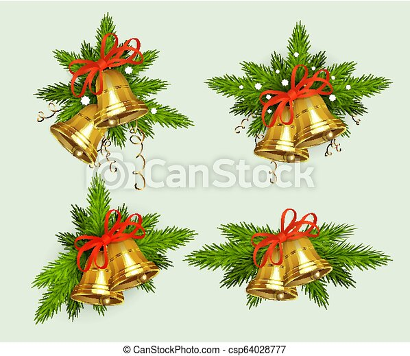 Christmas composition of spruce green branches with snowflakes and golden bells, design element. - csp64028777
