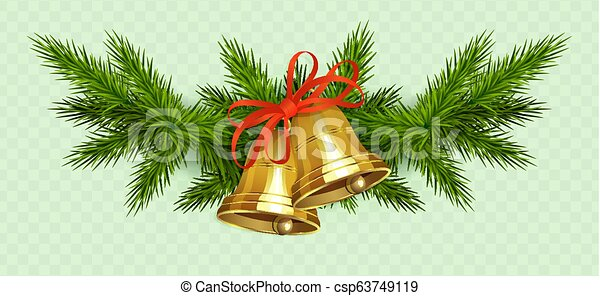 Christmas composition of spruce green twigs, two golden bells with red ribbon - csp63749119