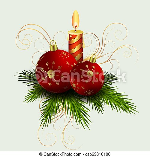 Christmas composition of spruce green twigs, a burning candle and red balls, - csp63810100