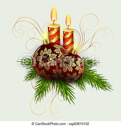 Christmas composition of spruce green twigs, two candles and balls with golden snowflakes. - csp63810102