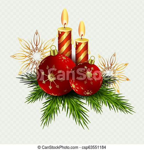 Christmas composition of two candles and red Christmas balls, snowflakes and twigs of the Christmas tree - csp63551184
