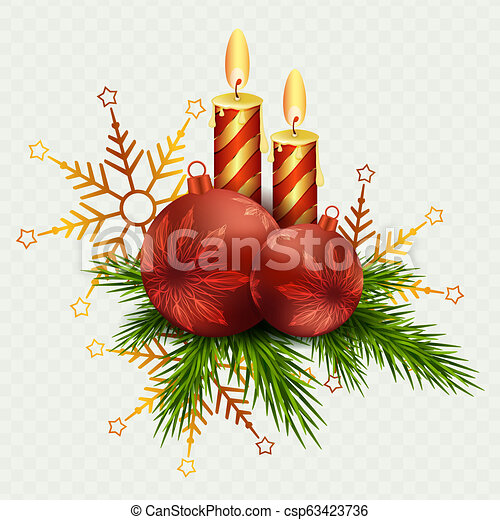 Christmas composition of two candles and Christmas balls, snowflakes and twigs of the Christmas tree. - csp63423736