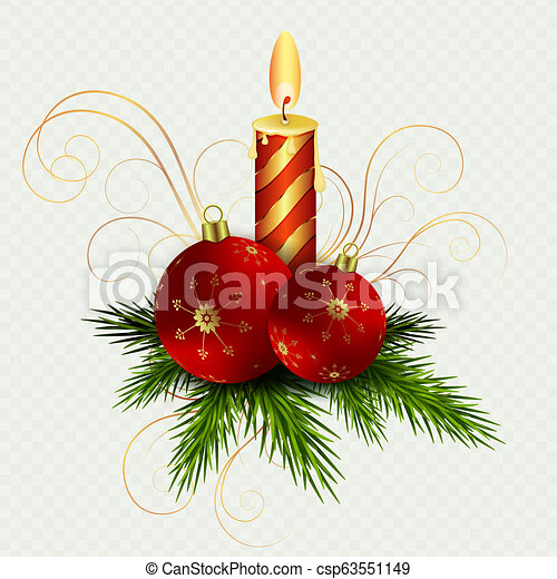 Christmas composition with a burning candle, two red Christmas balls and Christmas tree twigs. - csp63551149