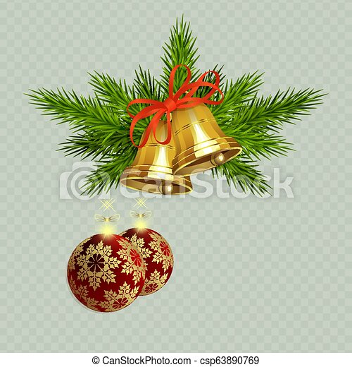 Christmas composition with golden bells with red ribbon, spruce twigs and two red balls - csp63890769