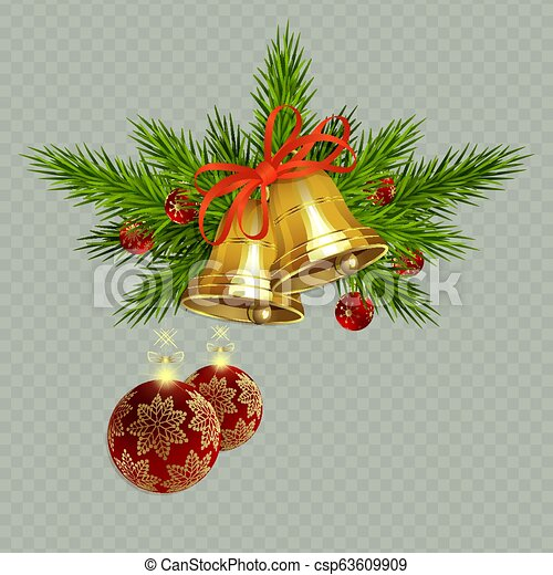 Christmas composition with golden bells with a ribbon, spruce twigs and red balls with snowflakes, - csp63609909