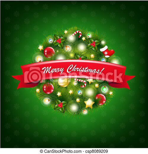 Christmas Composition With Red Ribbon - csp8089209