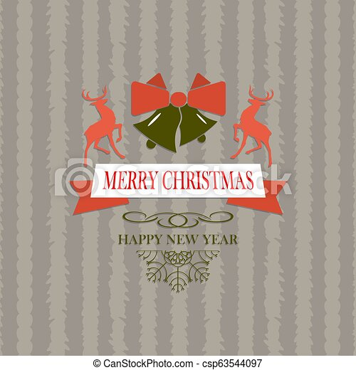 Christmas composition with text, bells with a bow and two deers. - csp63544097