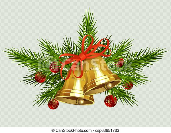 Christmas composition with two golden bells with red ribbon, spruce twigs and red balls. - csp63651783