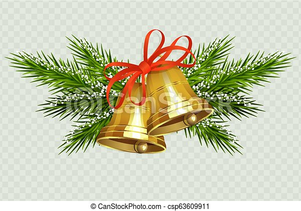 Christmas composition with two golden bells with a red ribbon and spruce twigs in the snow - csp63609911