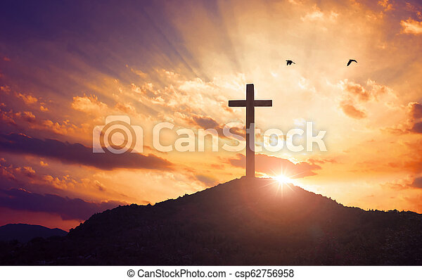Christmas Concept Crucifixion Of Jesus Christ Cross At Sunset