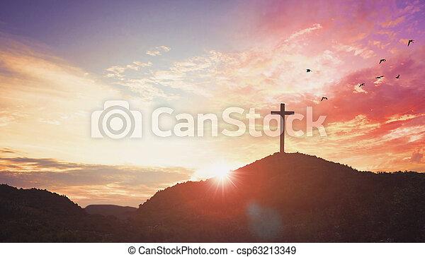 Christmas concept: Silhouette cross of Jesus Christ - csp63213349