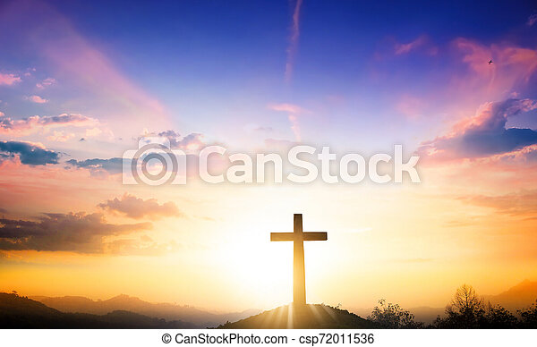 Christmas Concept The Cross On Mountain Sunset Background