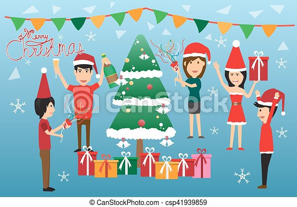 Happy people having corporate Xmas party, celebrating Christmas in office  Clipart   k52207321   Fotosearch