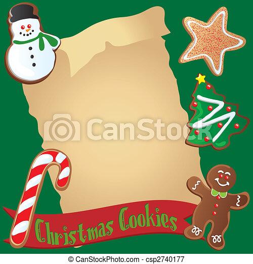Christmas Cookie Recipe or Invitation - csp2740177
