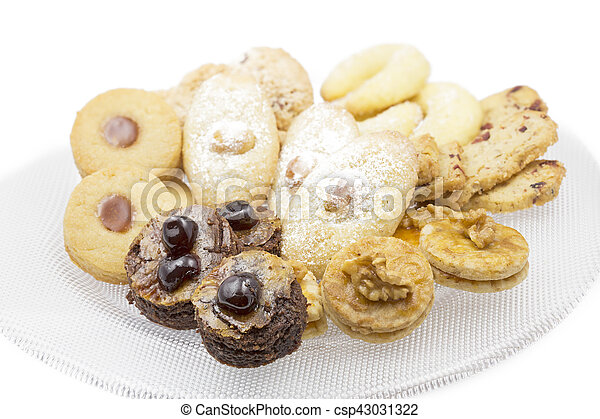 Christmas cookies on a glass plate, shot taken with shallow depth of field (DOF) - csp43031322