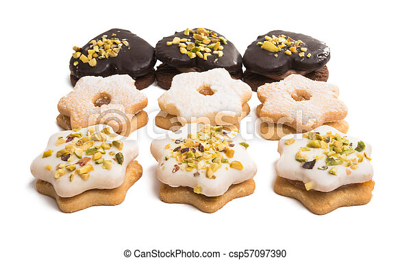 Christmas cookies sandwiches isolated - csp57097390