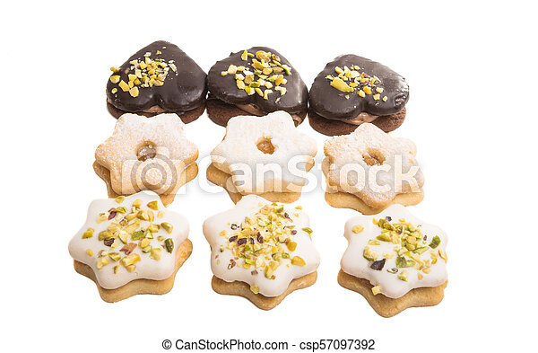 Christmas cookies sandwiches isolated - csp57097392