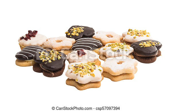 Christmas cookies sandwiches isolated - csp57097394