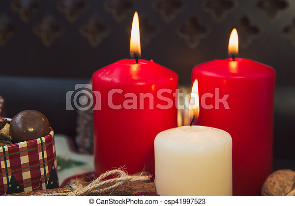 Christmas cookies with candles - csp41997523