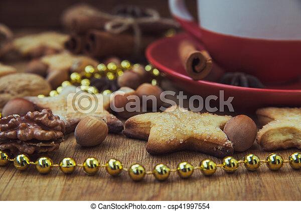 Christmas cookies with tea - csp41997554
