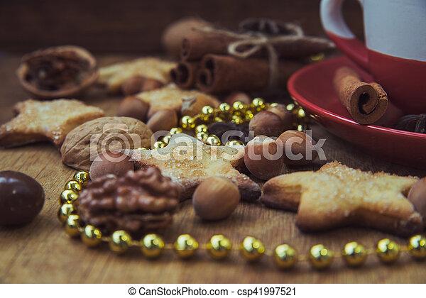 Christmas cookies with tea - csp41997521