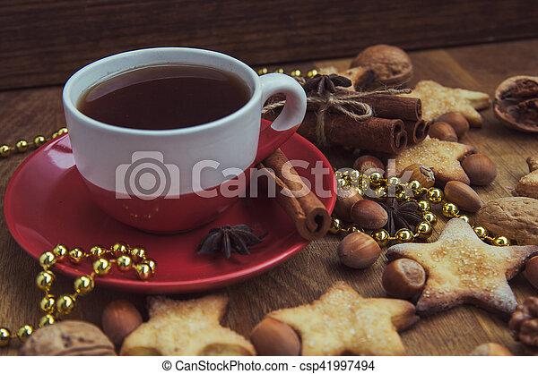 Christmas cookies with tea - csp41997494