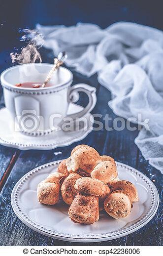 christmas cookies with tea - csp42236006