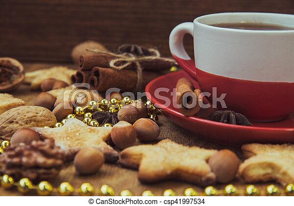 Christmas cookies with tea - csp41997534