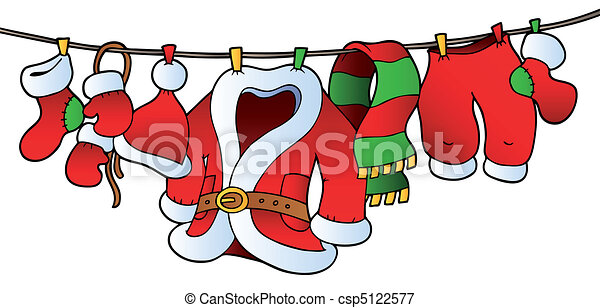 Christmas costume on clothesline - csp5122577