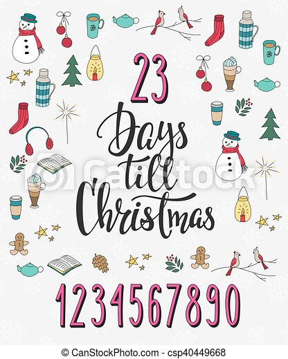 Christmas Countdown Lettering Typography Set