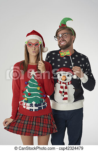 Christmas Couple With Funny Masks