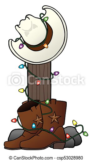 Christmas Boots Drawing.Christmas Cowboy Hat And Boots