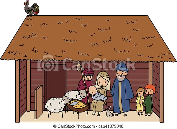 Illustration Of A Christmas Crib With Animals And Baby Jesus