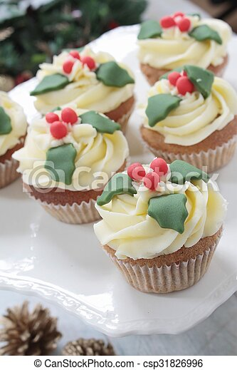 Christmas cup cakes - csp31826996