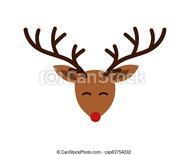 Christmas Cute Cartoon Reindeer Head With Antlers And Red Nose