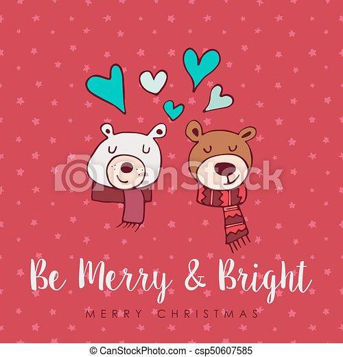 Christmas Cute Holiday Love Bears Cartoon Card Merry Christmas Hand