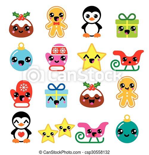 Christmas cute kawaii icons set. Vector icons set - xmas cute kawaii ...