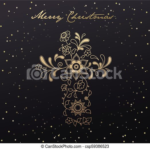 Christmas Background Christian.Christmas Dark Background With Golden Floral Christianity Cross And Stars