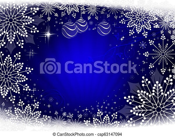 Christmas dark blue composition with beautiful white snowflakes. - csp63147094