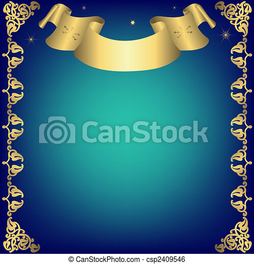 Christmas dark blue frame with golden ribbon - csp2409546