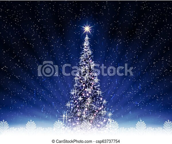 Christmas dark blue postcard with shiny Christmas tree. - csp63737754
