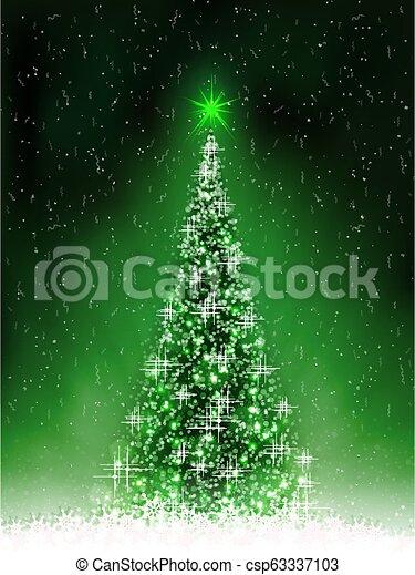 Christmas dark green card with shiny Christmas tree, - csp63337103