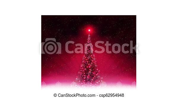 Christmas dark pink card with shiny Christmas tree. - csp62954948