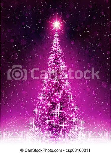 Christmas dark pink card with shiny Christmas tree. - csp63160811