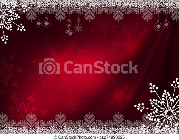 Christmas dark red background with magnificent snowflakes - csp74990225