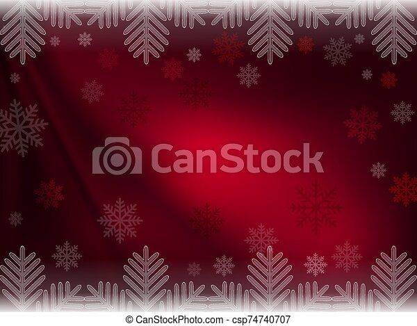 Christmas dark red composition with magnificent snowflakes - csp74740707