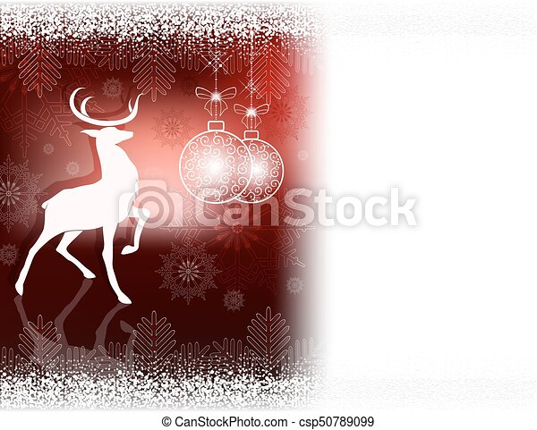 Christmas dark red design with a deer - csp50789099